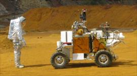 A spacesuit tester and rover in Rio Tinto