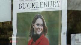 Poster of Kate Middleton in shop window in Bucklebury