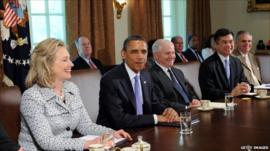 President Obama holding a cabinet meeting