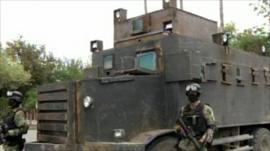 Home-made tank, nicknamed 'the monster'