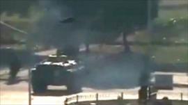 Video footage showing tank moving through Hama