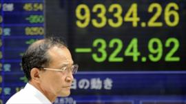 Tokyo Stock prices on display