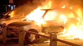 Cars on fire