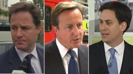 Clegg, Cameron and Miliband
