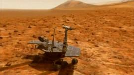 Animation showing Opportunity moving across surface of Mars