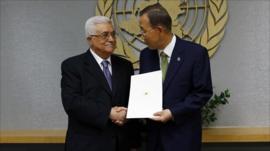 Palestinian President Mahmoud Abbas with United Nations Secretary General Ban Ki-Moon