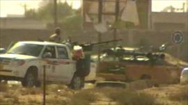 Armed vehicles inside the boundary of Sirte, Libya