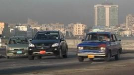 Cars on a road in Havana