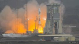 Soyuz lifts off with Galileo satellites