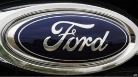 The Ford logo on a car