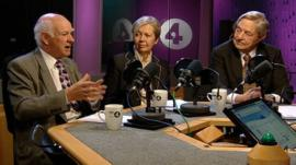 Howard Davies, DeAnne Julius and George Soros talking to Stephanie Flanders