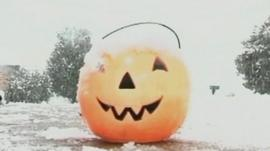 Pumpkin covered in snow