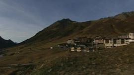 Snowless ski resort in Austrian Alps