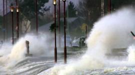 Waves hit Greenock sea front