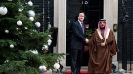 Prime Minister David Cameron (L) welcomes the King of Bahrain, King Hamad bin Issa al-Khalifa (R) to 10 Downing Street