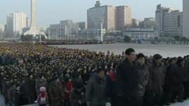 Mourners in Pyongyang