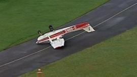 A plane is overturned at the Redhill Aerodrome in Surrey.