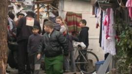 Roma children in a makeshift camp in Paris