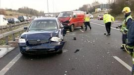 Crashed cars on motorway