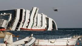 The Costa Concordia on its side