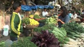 Fruit and vegetables on sale in market