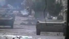 Unverified picture purporting to show tanks in Homs