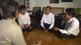 Min Ko Naing, Ko Ko Gyi and Htay Kywe with Rachel Harvey