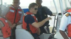 Prince Harry had to switch boats in the Bahamas after the vessel he was travelling in broke down.