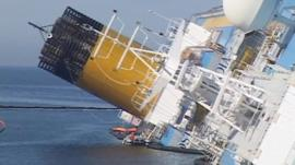 The grounded Costa Concordia.