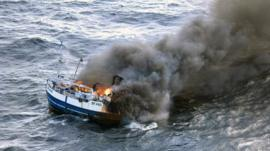 Fire on the 'Onward' fishing boat