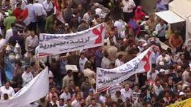 Protesters in Cairo's Tahrir Square