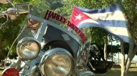 Vintage Harleys on display in Varadero, Cuba