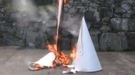 John Brown's artwork on fire