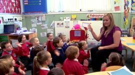Primary school teacher and children in class