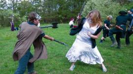 live action role players fighting