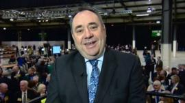 SNP leader Alex Salmond at a local election count in Aberdeen