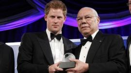 Prince Harry with Colin Powell