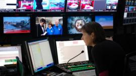 A TV director in a production gallery