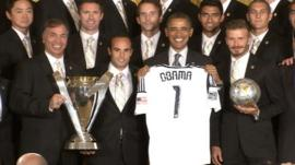 US President Barack Obama with the LA Galaxy
