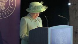 The Queen making a speech in Burnley