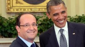 Francois Hollande and Barack Obama at the White House
