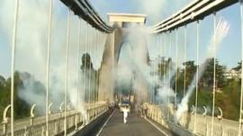 Olympic torch carried across Clifton Suspension Bridge