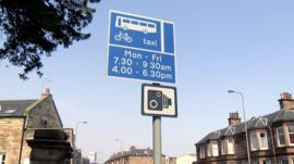 Bus lane and camera signs in Edinburgh
