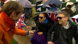 Royal fans speak to the BBC's Philippa Thomas at Tower Bridge in London