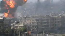 An explosion in Homs