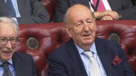 Lord Grenfell sees the funny side of Lord Howell's pronunciation