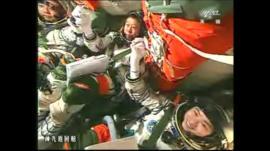 (L-R) Liu Wang, Jing Haipeng and China's first female astronaut, Liu Yang