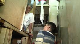A cramped Hong Kong home