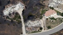 Aerial view of houses destroyed by fire in Colorado