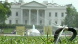 Sprinklers outside the White House